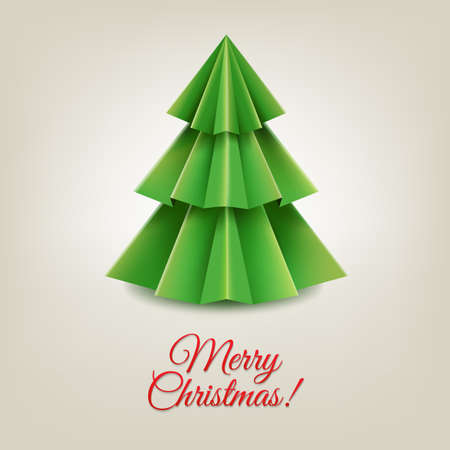 firtree: Christmas Paper Tree With Gradient Mesh, Vector Illustration