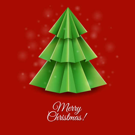 furtree: Christmas Greeting Card With Gradient Mesh, Vector Illustration