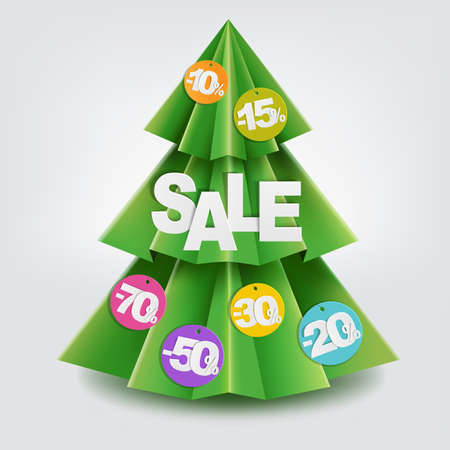 furtree: Sale Christmas Paper Tree With Gradient Mesh, Vector Illustration