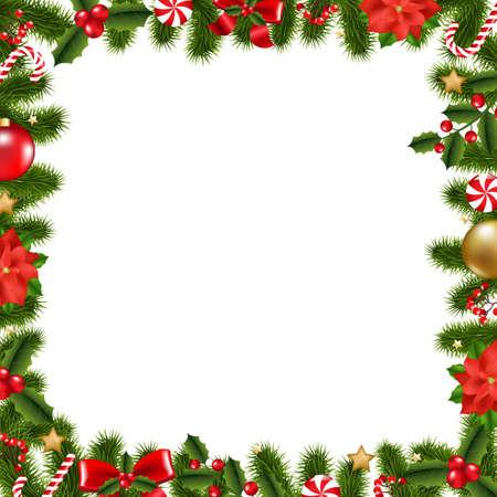 flor de pascua: Marco de Navidad con malla de degradado, ilustración vectorial Vectores