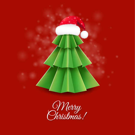 furtree: Christmas Greeting Card With Santa Claus Hat With Gradient Mesh, Vector Illustration Illustration