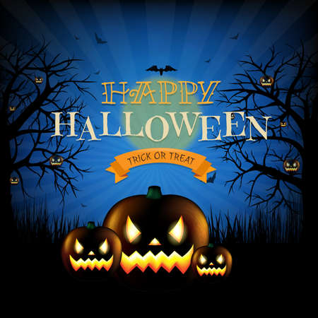 Hallooween Party Poster With Gradient Mesh, Vector Illustration