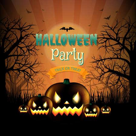 hallooween: Hallooween Party Card With Gradient Mesh, Vector Illustration