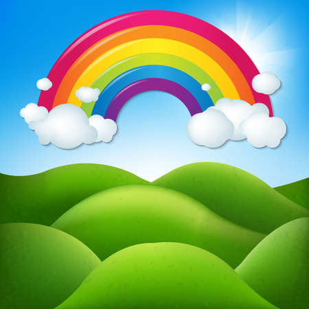 lands: Fantastic Landscape With Rainbow With Gradient Mesh, Vector Illustration Illustration