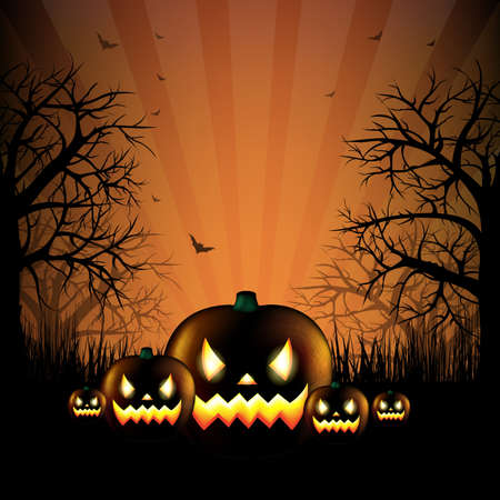 Hallooween Party Card With Gradient Mesh, Vector Illustration