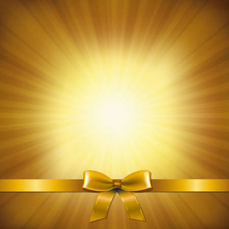 christmas illuminations: Golden Sunburst With Golden Ribbon And Bow With Gradient Mesh, Vector Illustration Illustration