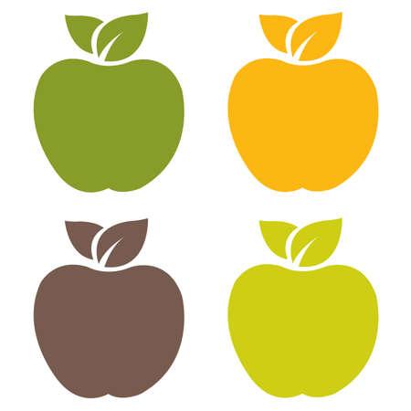 manzana verde: Las etiquetas orgánicas conjunto, ilustración vectorial Vectores