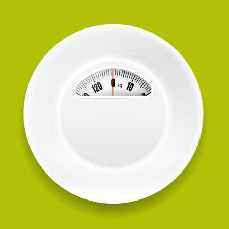 white plate: White Plate With Weight Scale With Gradient Mesh, Vector Illustration Illustration