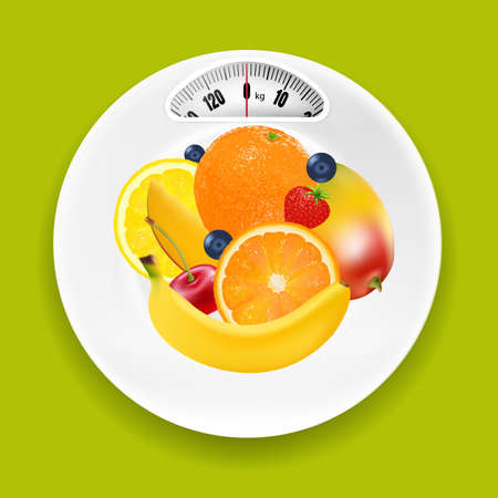 delftware: White Plate With Weight Scale And Fruits With Gradient Mesh, Vector Illustration