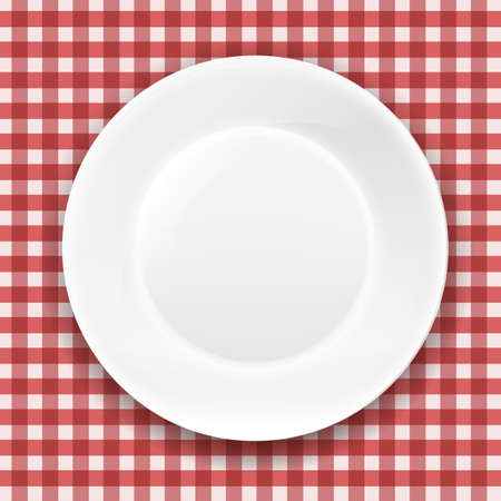white plate: Checkered Cloth And White Plate With Gradient Mesh, Vector Illustration Illustration