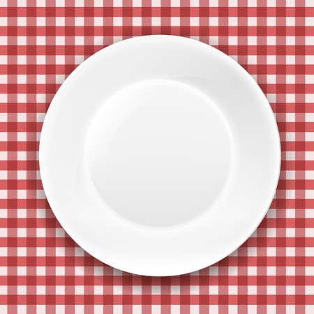 piatto: Panno a scacchi e piatto bianco con gradiente maglie, illustrazione vettoriale