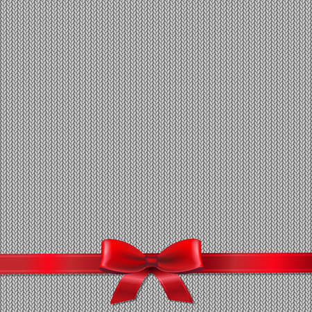 knit: Knitted Background With Red Ribbon With Gradient Mesh, Vector Illustration Illustration