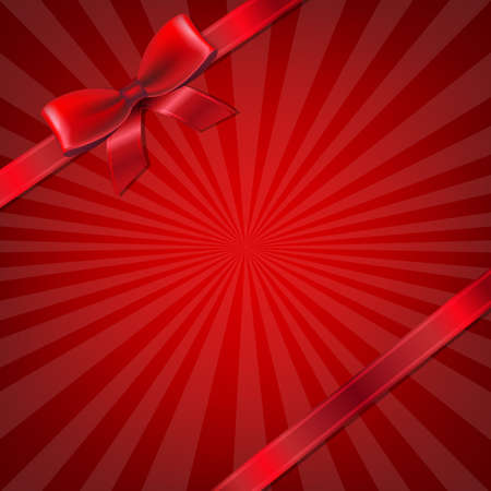 Sunburst With Red Ribbon And Bow With Gradient Mesh, Vector Illustration Vectores
