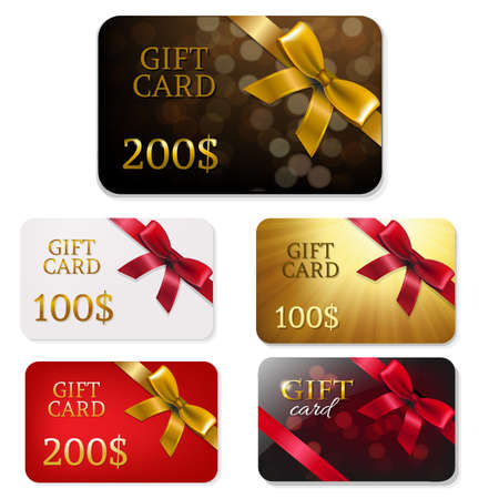 gift ribbon: Gift Card With Bows Big Set With Gradient Mesh