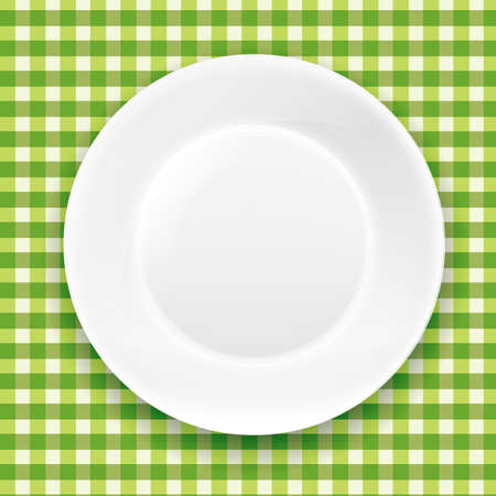 checker plate: Green Checkered Cloth And White Plate With Gradient Mesh Illustration