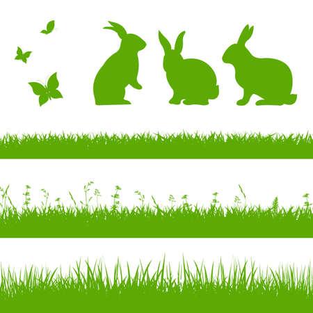 pascuas navide�as: Frontera de hierba de la primavera con los conejos