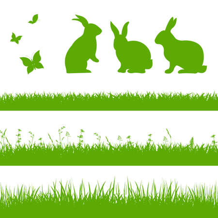 animal silhouette: Spring Grass Border With Rabbits