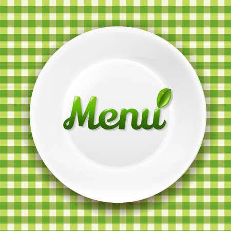 white plate: Green Checkered Cloth And White Plate With Gradient Mesh Illustration
