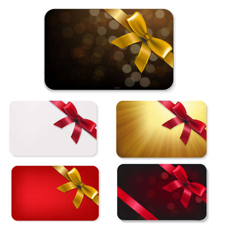 Gift Card With Bows Big Set With Gradient Mesh