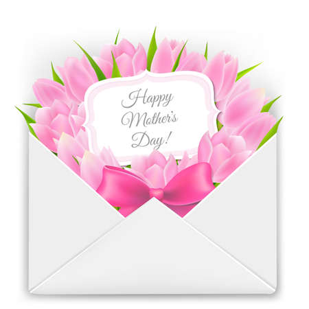 retro flowers: Mothers Day Card With Gradient Mesh, Vector Illustration