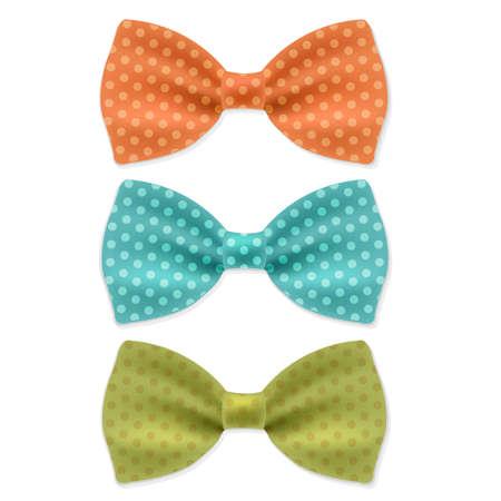 ties: Bow Tie Set With Gradient Mesh, Vector Illustration