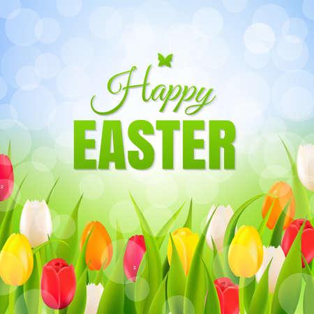 ramo de flores: Cartel feliz Pascua con malla de degradado, ilustración vectorial