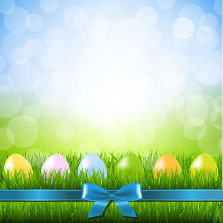 borde de flores: Huevos de Pascua con malla de degradado, ilustración vectorial