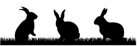 grass vector: Rabbits With Grass, Vector Illustration