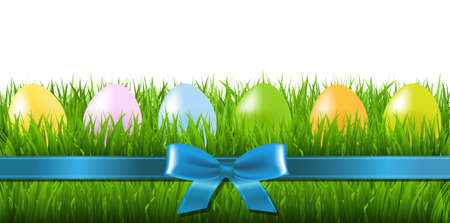 grass border: Easter Grass Border With Eggs With Gradient Mesh, Vector Illustration