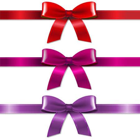 ribbin: Satin Color Bows Set With Gradient Mesh, Vector Illustration Illustration