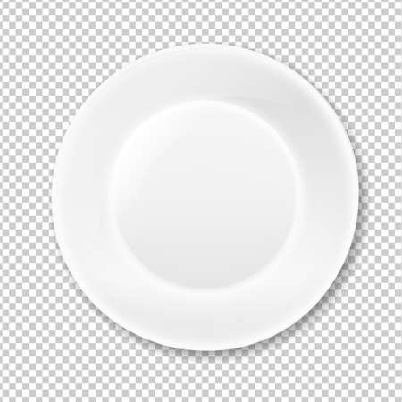White Plate, Isolated on Transparent Background, With Gradient Mesh, Vector Illustration