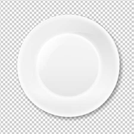 Weißen Teller, isoliert auf transparentem Hintergrund, mit Gefälle Mesh, Vektor-Illustration Vektorgrafik