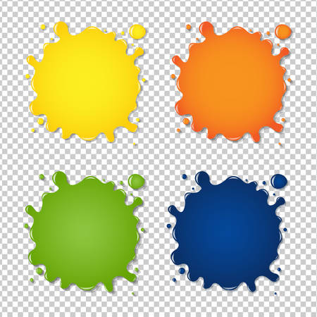 Set Of Colorful Blots, Isolated on Transparent Background, Vector Illustration