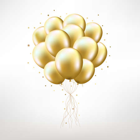 Golden Balloons, Isolated on White Background, Vector Illustration Illustration