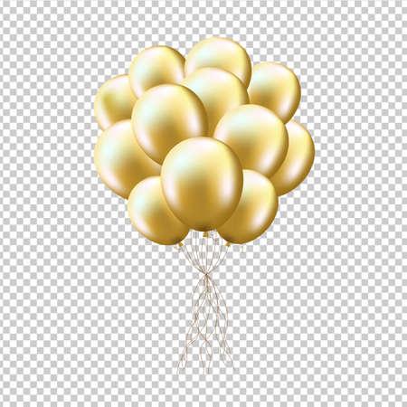 Goldene Luftballons Garbe, isoliert auf transparenten Hintergrund, mit Gefälle Mesh, Vektor-Illustration Vektorgrafik