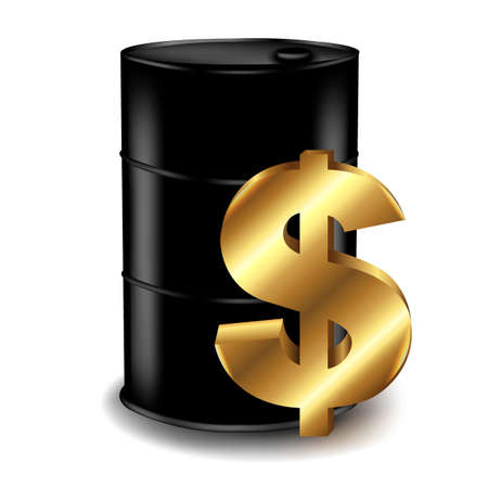 steel drum: Oil Barrel With Dollar, With Gradient Mesh, Vector Illustration