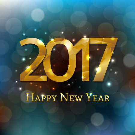 New Year Postcard 2017 With Gradient Mesh, Vector Illustration