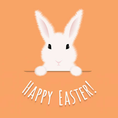 fluff: Happy Easter Postcard With Rabbit With Gradient Mesh, Vector Illustration