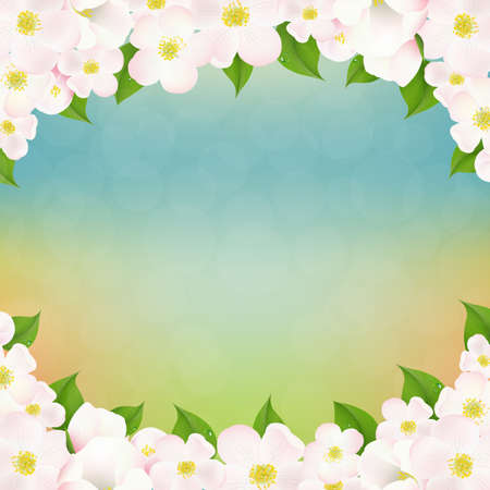 dia soleado: Spring Poster With Apple Tree Flower With Gradient Mesh, Vector Illustration