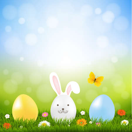 spring summer: Happy Easter Postcard With Gradient Mesh, Vector Illustration