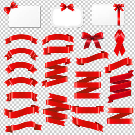 Red ribbon collection with gradient mesh illustration.