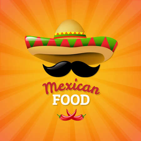 Mexican Food With Gradient Mesh, Vector Illustration