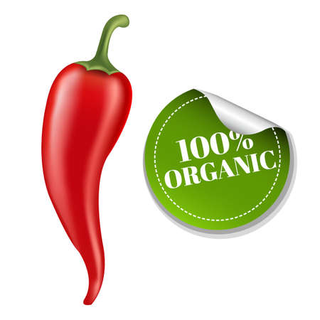 organic peppers sign: Chilli Pepper With Label With Gradient Mesh, Vector Illustration