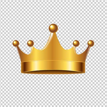 Golden Crown With Gradient Mesh, Vector Illustration Vectores