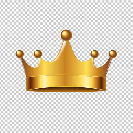 Golden Crown With Gradient Mesh, Vector Illustration Çizim