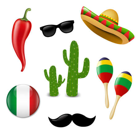 chili pepper: Colorful Mexican Set With Gradient Mesh, Vector Illustration.