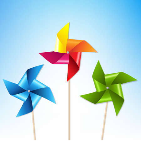 wind mill toy: Colorful Pinwheels With Blue Sky With Gradient Mesh, Vector Illustration