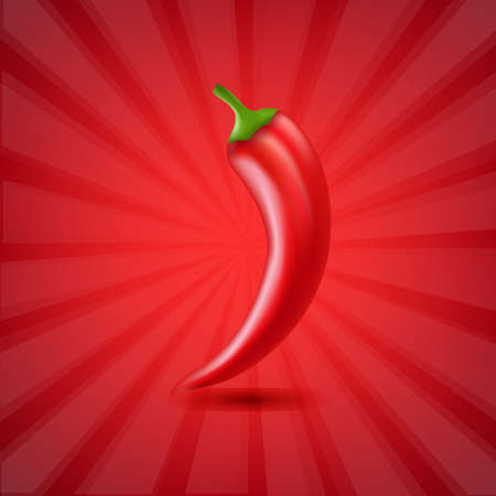 organic peppers sign: Red Background Texture With Sunburst With Hot Pepper With Gradient Mesh, Vector Illustration
