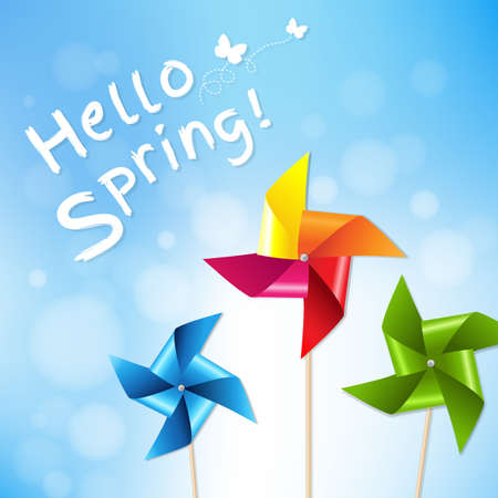 Colorful Pinwheels With Blue Sky Spring Poster With Gradient Mesh, Vector Illustration