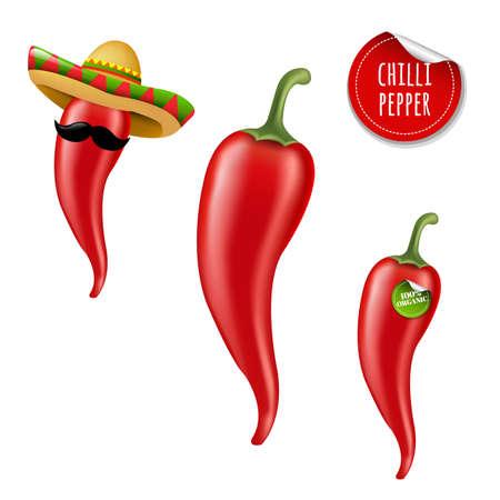 Hot Chilli Pepper Big Set With Gradient Mesh, Vector Illustration